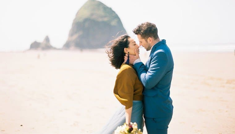 Elopement Beach in Shades of Blue by Nadia Hung Photography