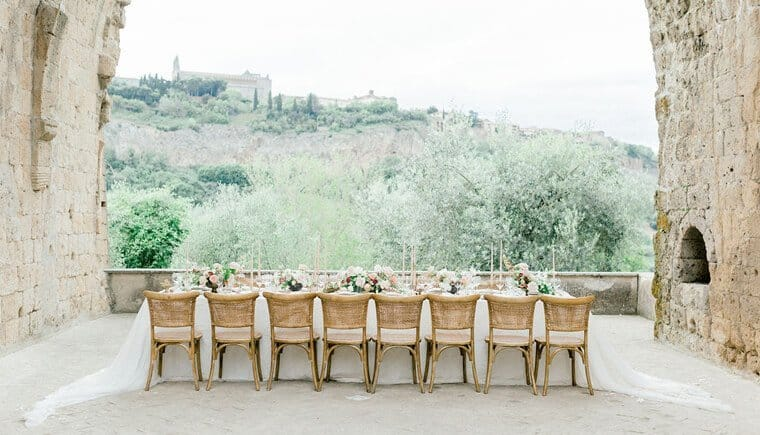 Romantic wedding table with a view