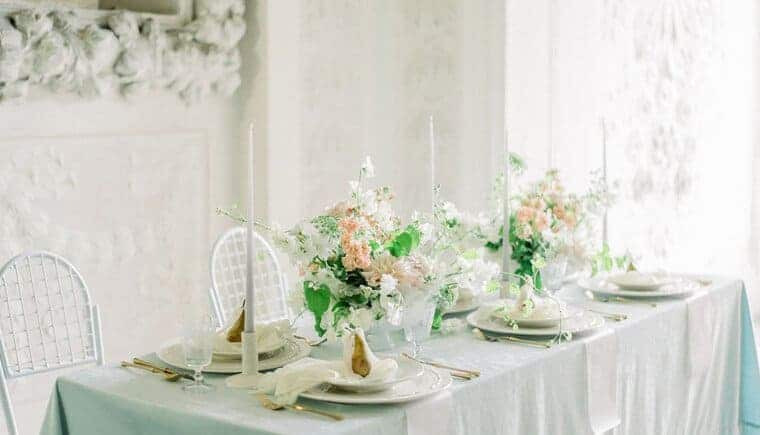 Dreamlike castle wedding in soft pastel shades